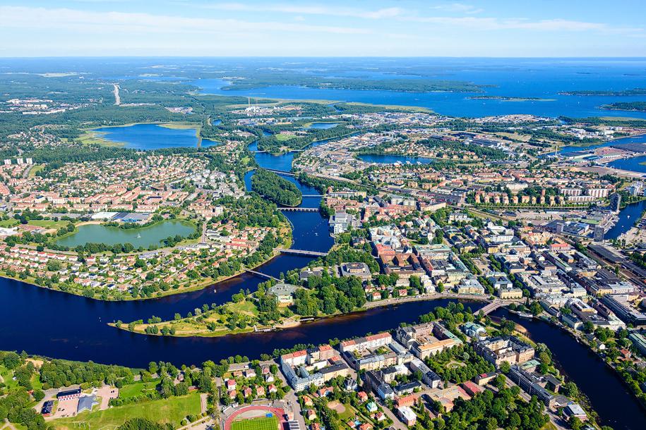 Karlstad från ovan, Värmland