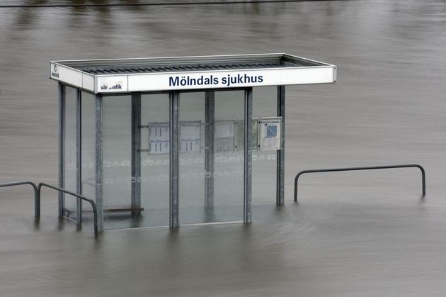 Busshållplats vid Mölndals sjukhus, Mölndal.