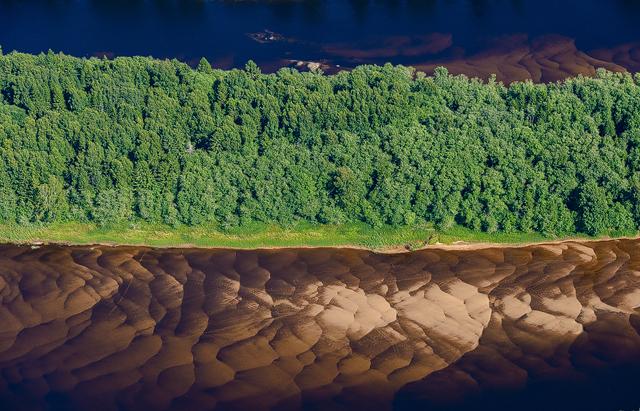 Flygfoton visar sandbankarna i Klarälven-