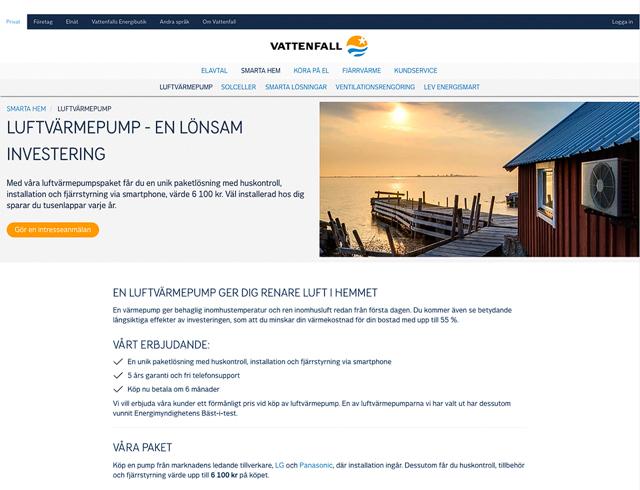 Bild på Vattenfalls webbplats. Foto: Mikael Svensson