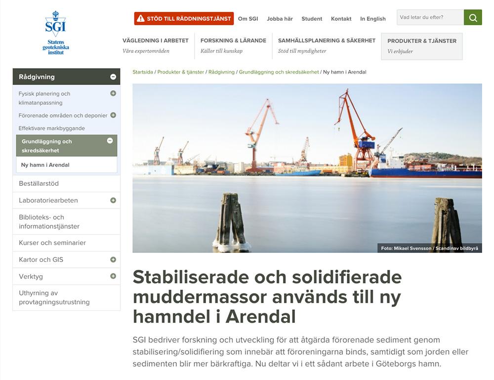 Ny hamn i Arendal. Bild på SGI's webbsida. Foto: Mikael Svensson, www.mikaelsvensson.com