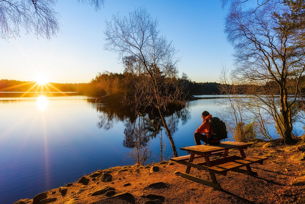 Första parkett vid soluppgång vid Stora Delsjön. Delsjön - där stad och vildmark möts