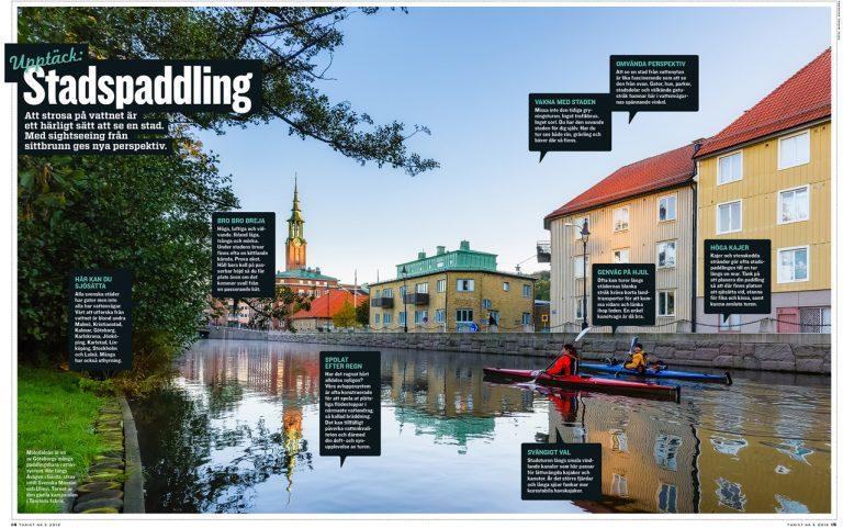 Stadspaddling i Mölndalsån. Uppslag i Turist nr 5 / 2018. Foto: Mikael Svensson, www.mikaelsvensson.com