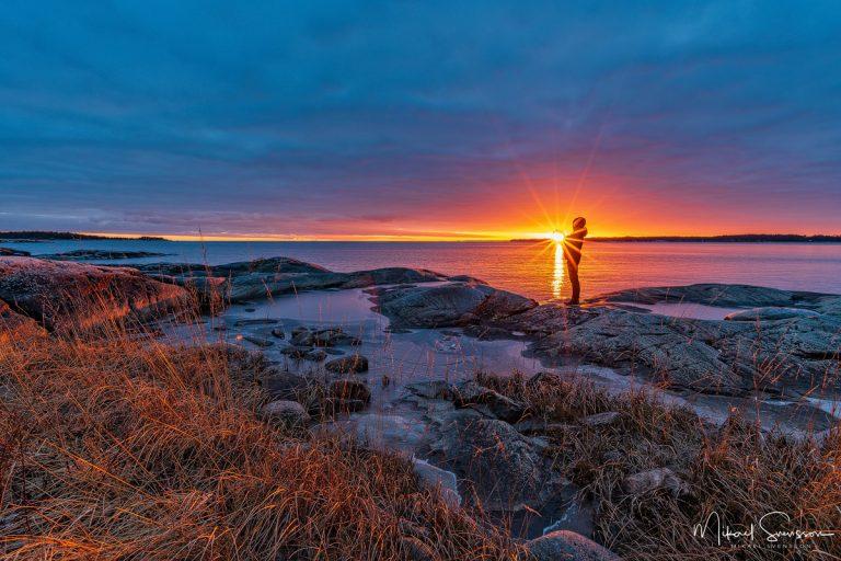 Solnedgång vid Duse Udde, Vänern. Foto: Mikael Svensson