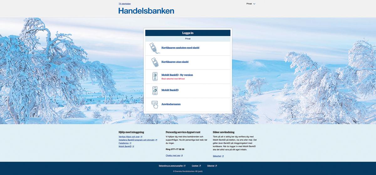 Grövelsjöfjällen som bakgrundsbild på Handelsbankens webb.