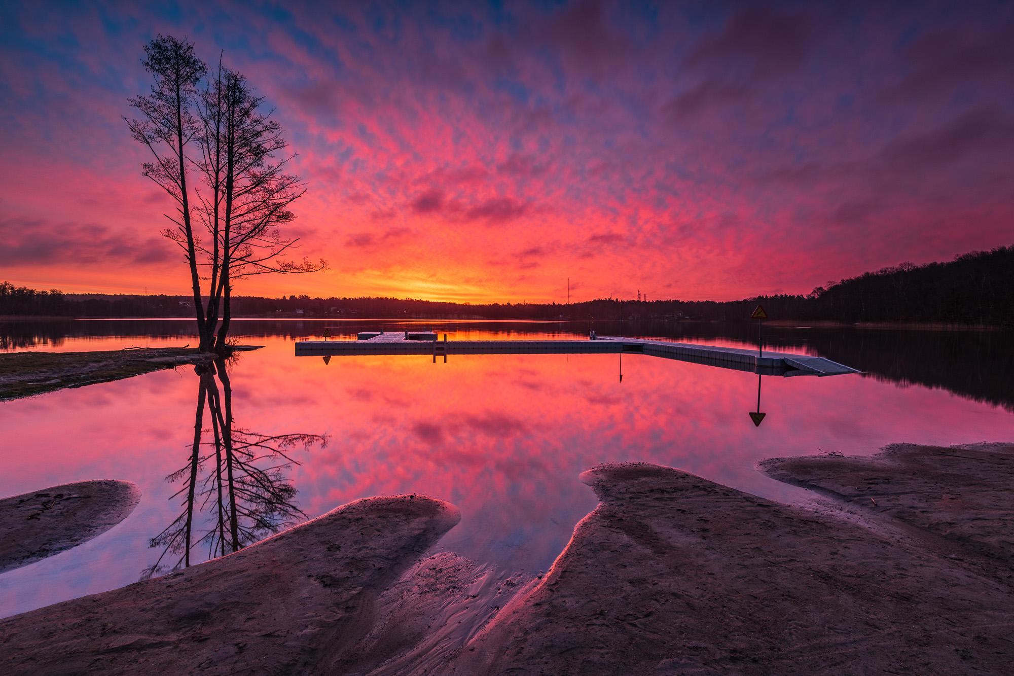 Soluppgång vid Tulebosjön, Kållered.