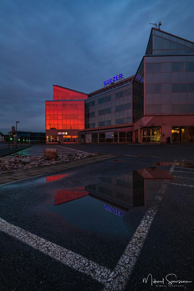 Sulzer huset vid solnedgång, Åbro, Mölndal.