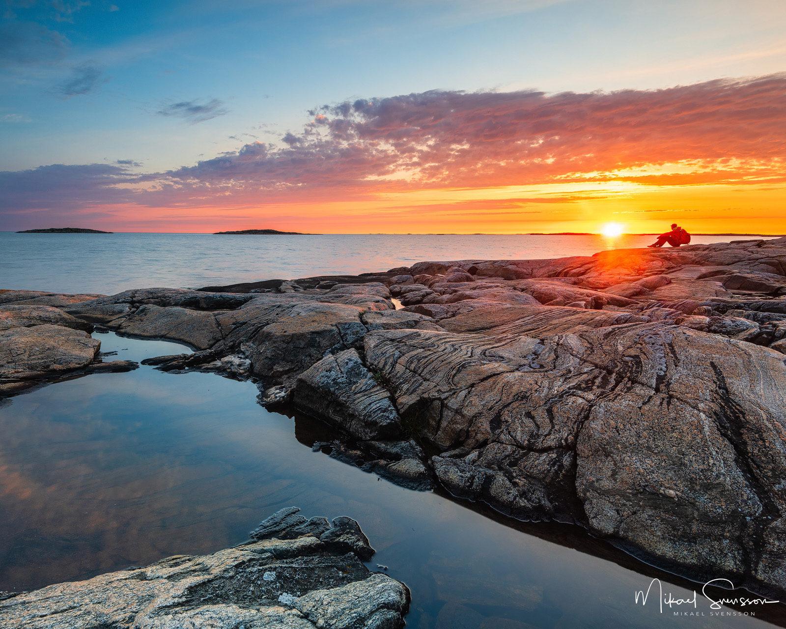 Solnedgång vid Vallda Sandö