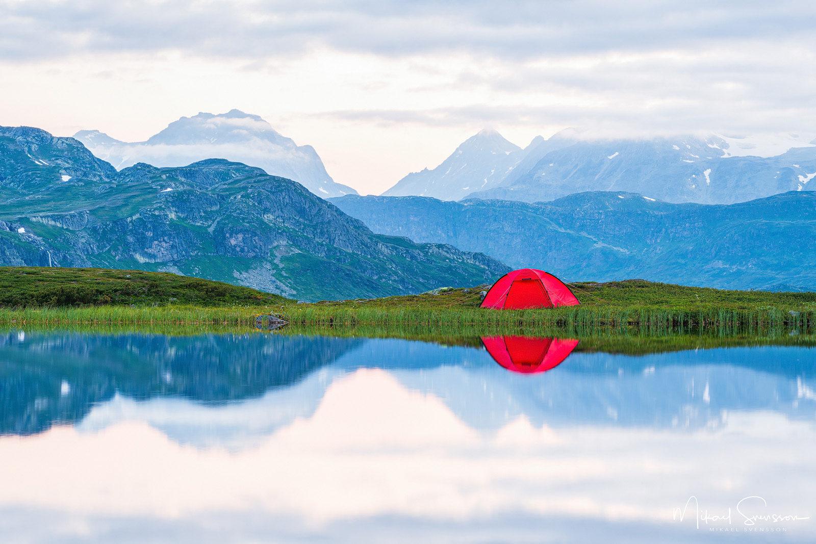 Tältning på Slettefjell, Norge. Foto: Mikael Svensson, www.mikaelsvensson.com