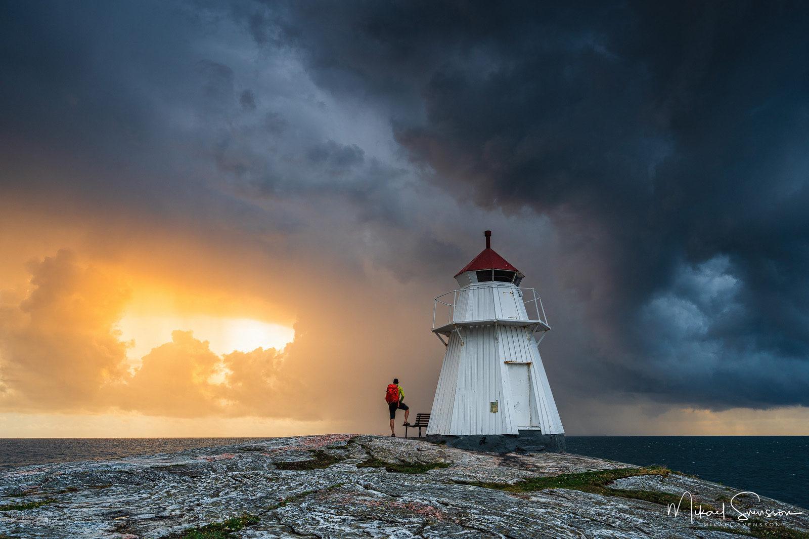 Dramatiskt väder vid Bua fyr, Halland, Sweden.