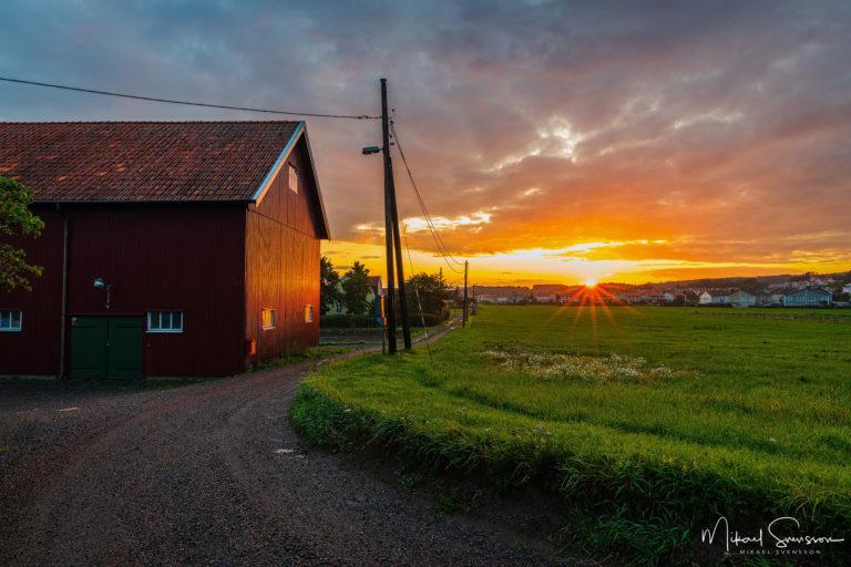 Solnedgång vid Eklanda, Mölndal, Sweden.