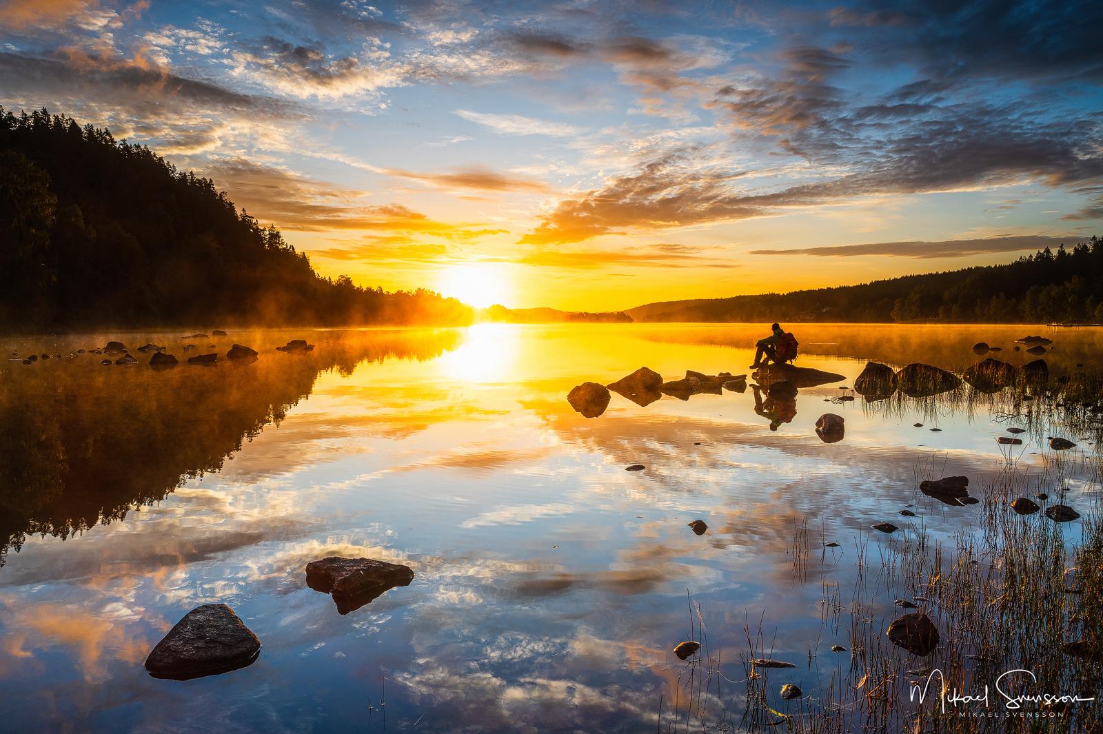 Soluppgång vid Västra Ingsjön, Mölndal.