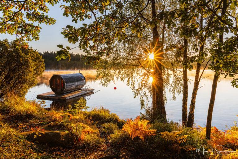 Soluppgång vid Yxsjön, Härryda kommun.