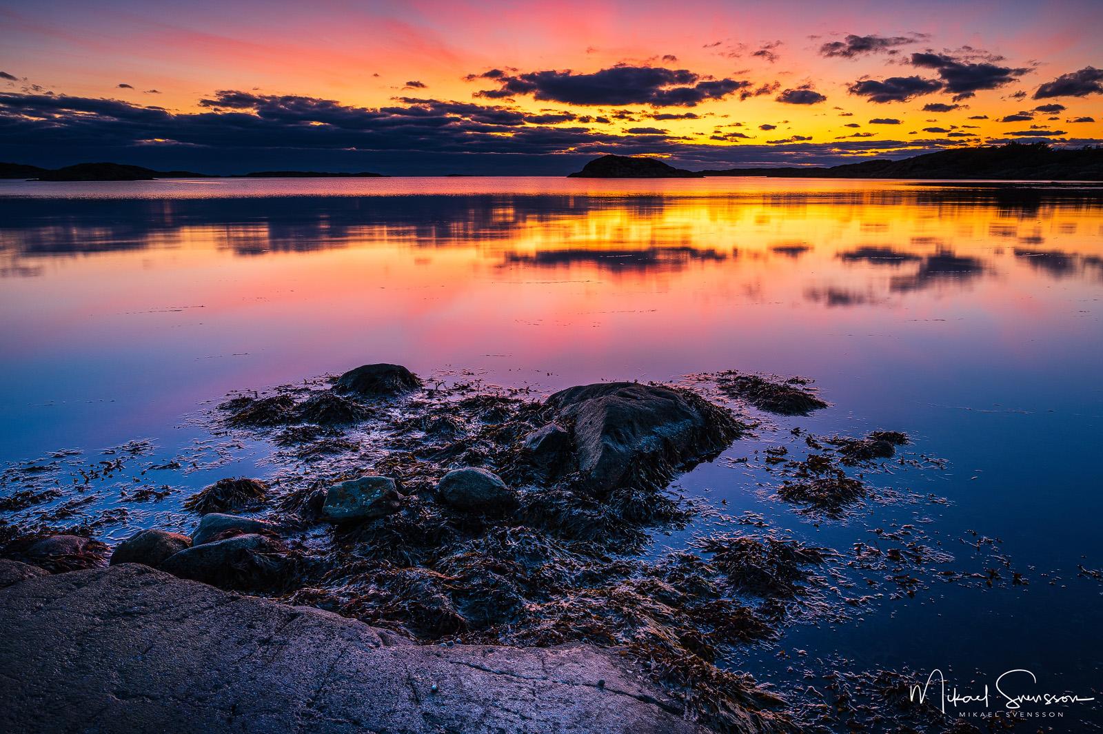 Solnedgång vid Smarholmen, Halland.