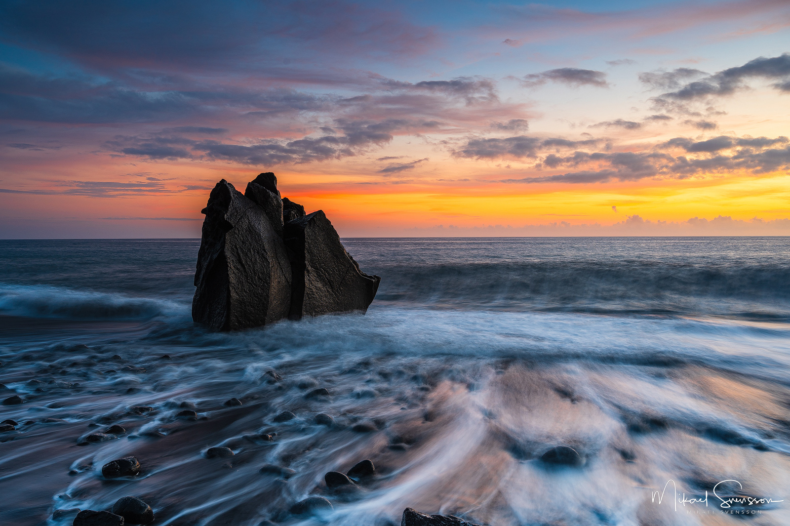 Sunset at Praia Formosa, Madeira.