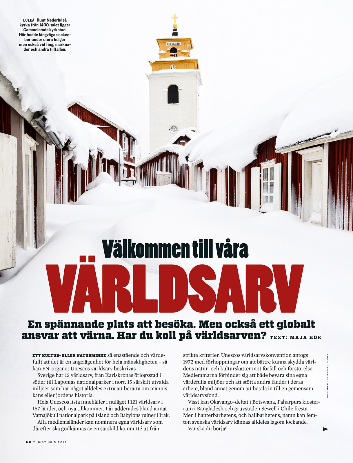 Bild från Gammelstads kyrkstad i tidningen Turist. Foto: Mikael Svensson