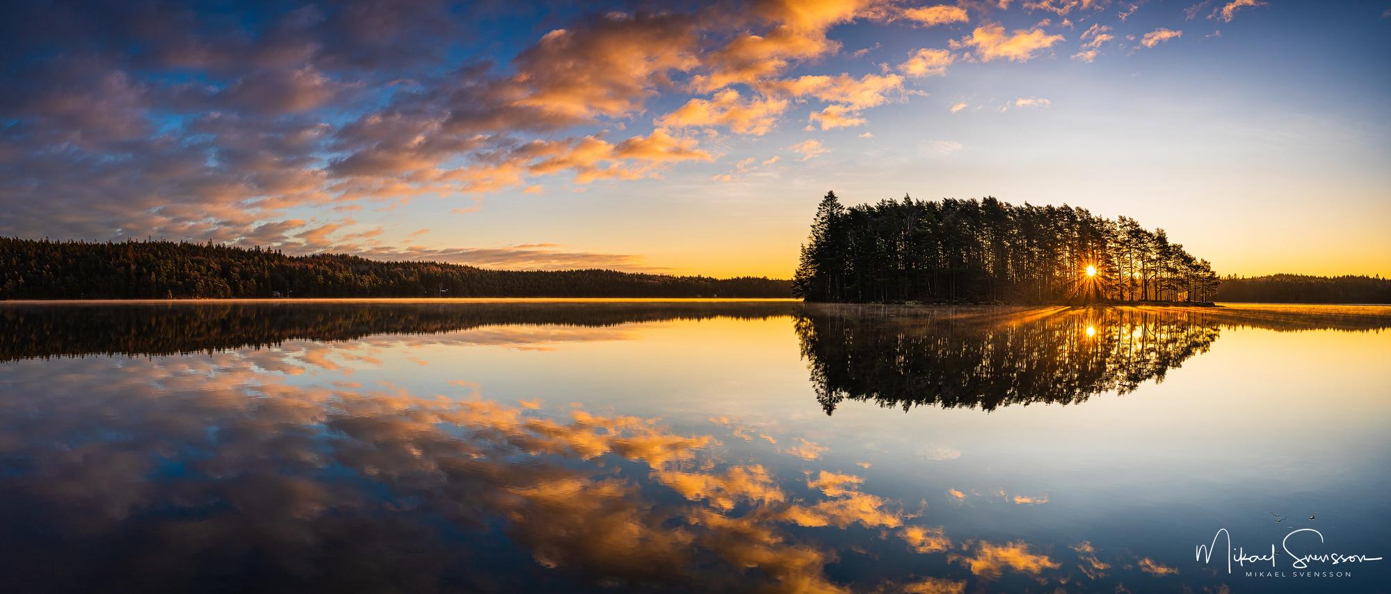 Soluppgång vid Finnsjön, Härryda kommun