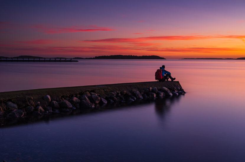 Solnedgång vid Hanhals holme, Halland.