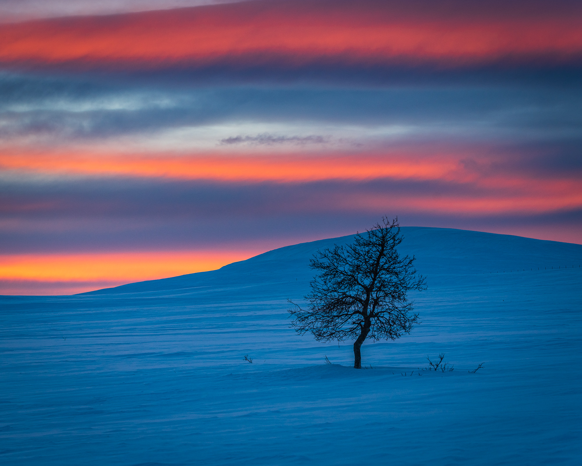 Solnedgång vid Grövelsjöfjällen, Dalarna.
