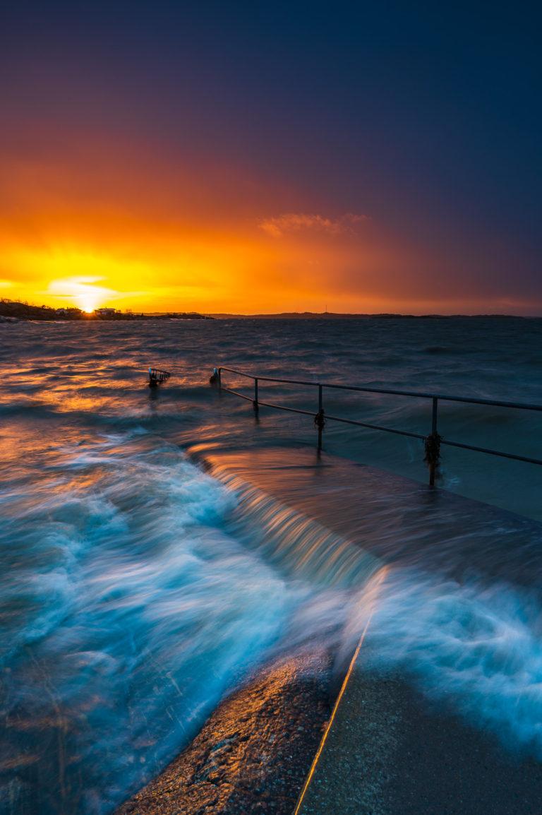 Solnedgång vid Lilleby badplats