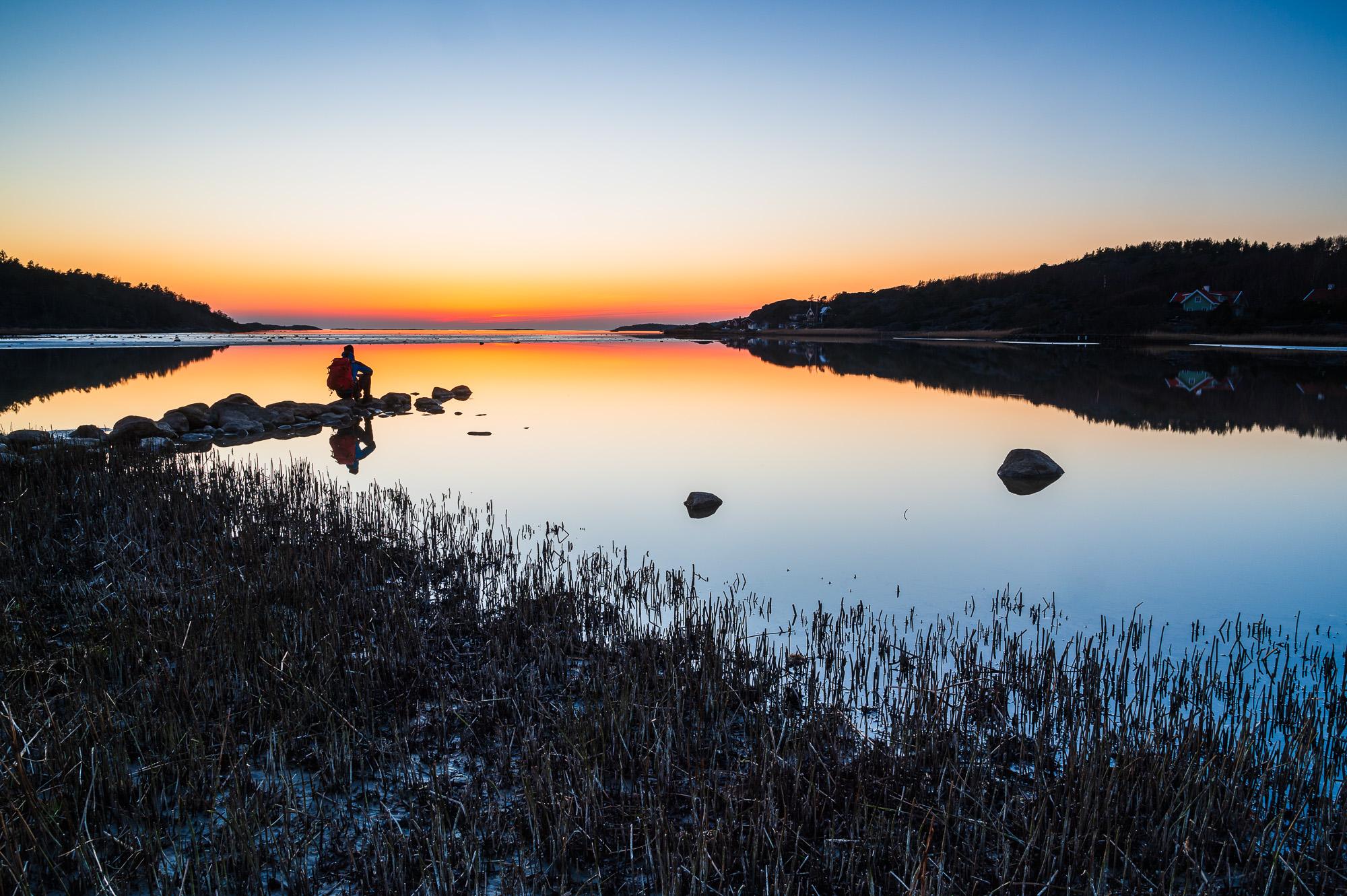 Solnedgång vid Brandshultsviken, Kungsbacka kommun.