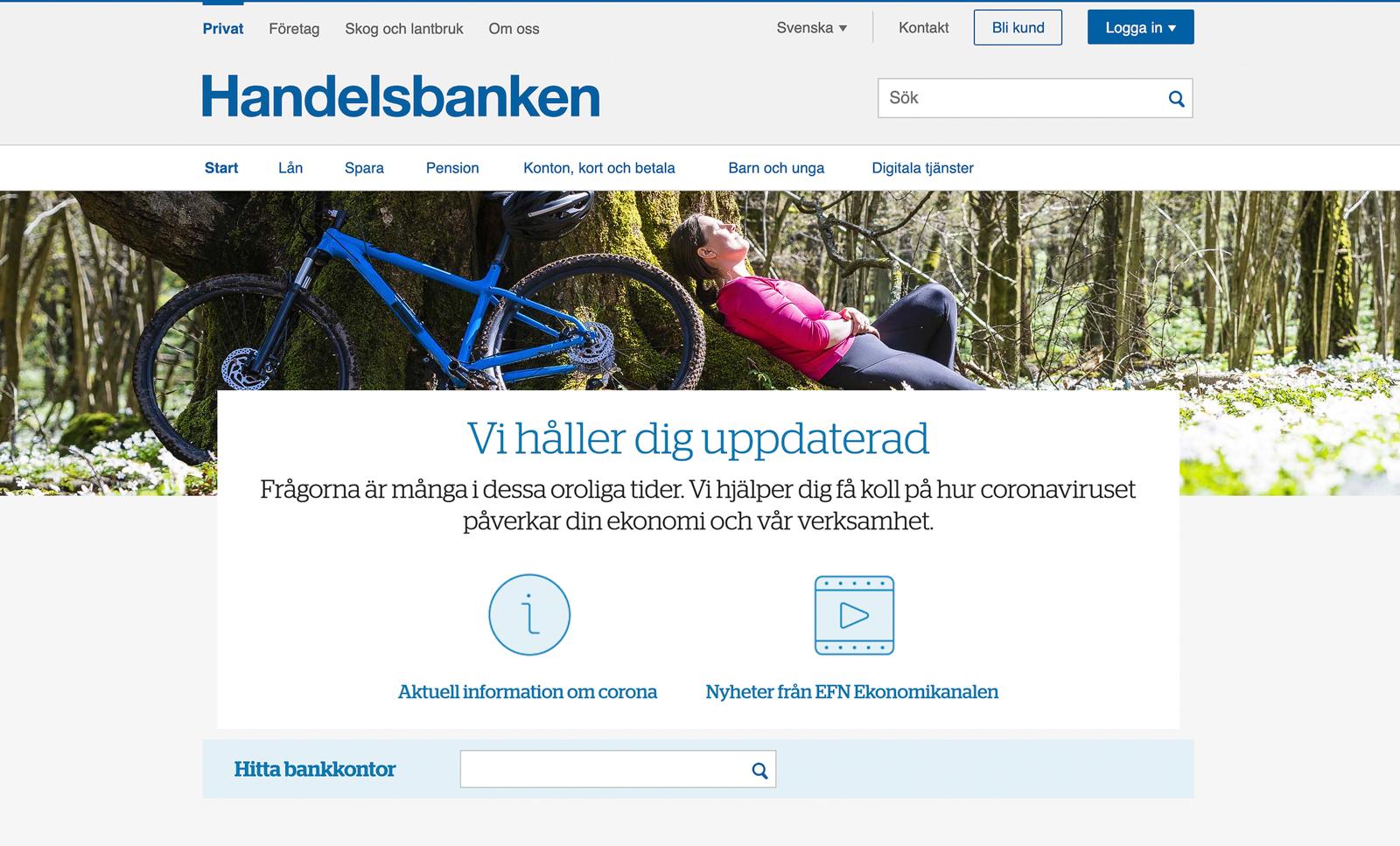Bild publicerad på Handelsbankens webbsida