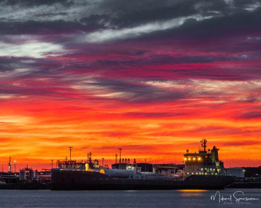 Solnedgång vid Skandiahamnen, Göteborg