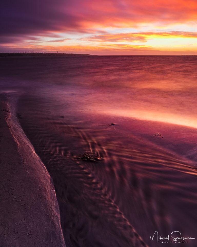 Solnedgång vid Stråvalla strand, Varbergs kommun