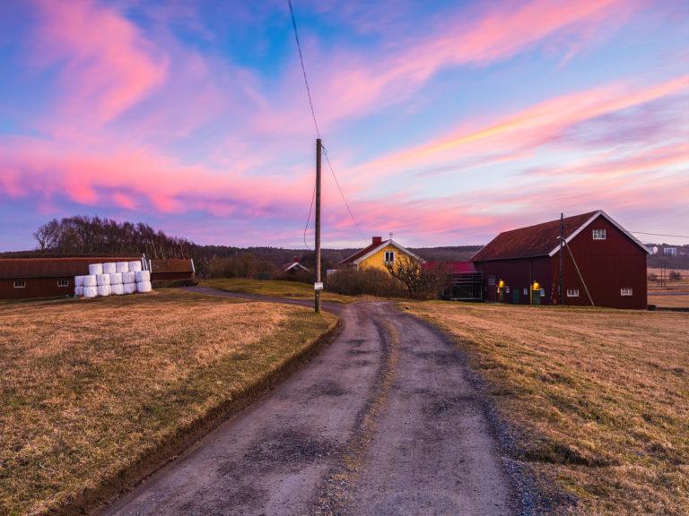 Solnedgång vid Fässbergs Mellangård, Mölndal.