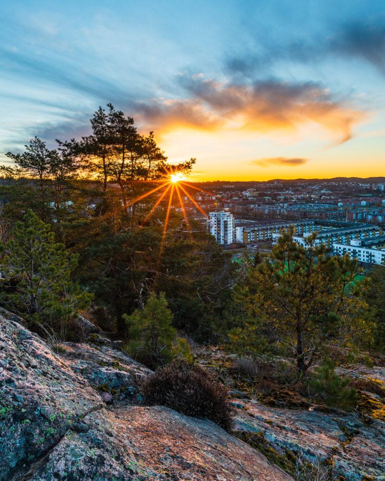 Soluppgång vid Västerberget, Mölndal.